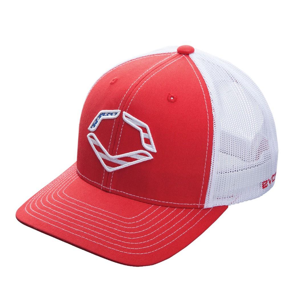 Evoshield USA Logo Snapback Baseball Softball Trucker Hat - Red White bf130563bfc3