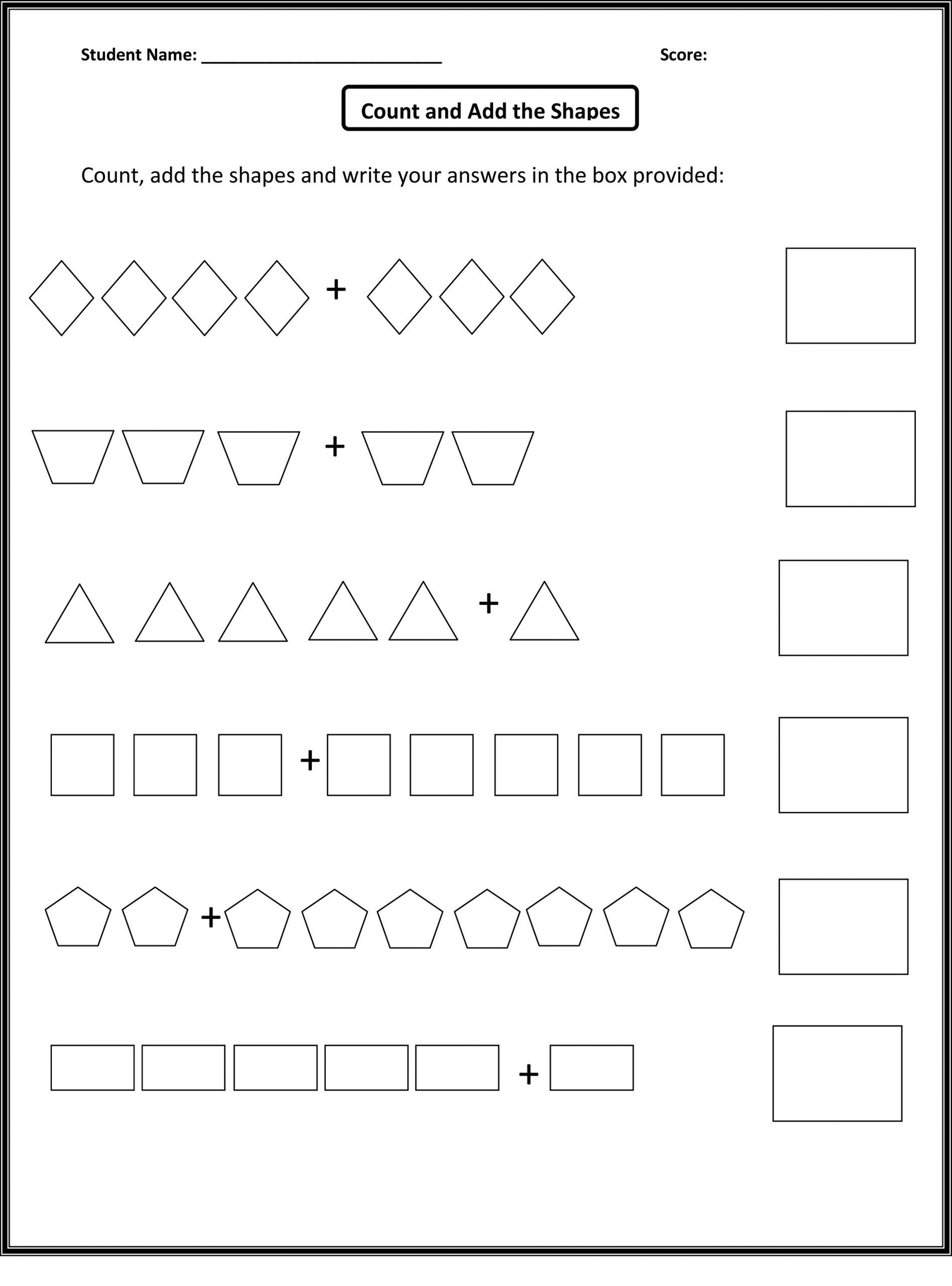 Numbers And Shapes Worksheets In