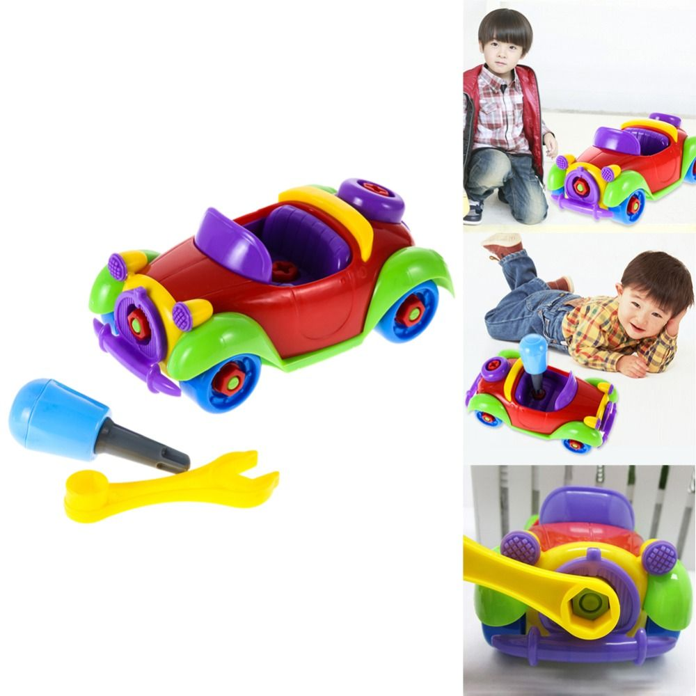 Funny baby kid colorful car airplane puzzle assembly early educational toy diy creative bricks toys for children toys
