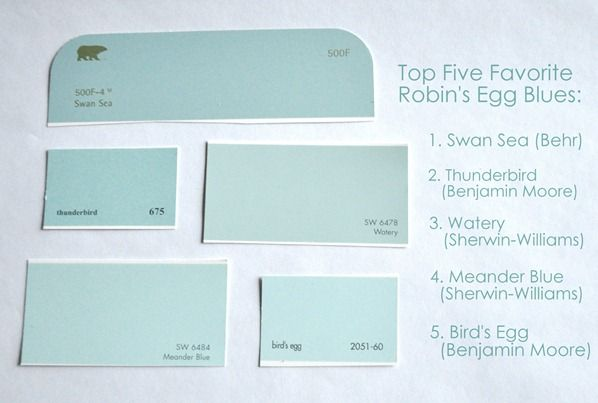 Top 5 Robin S Egg Blues Swan Sea Behr Thunderbird Benjamin Moore Watery Sherwin Williams Meander Blue Bird