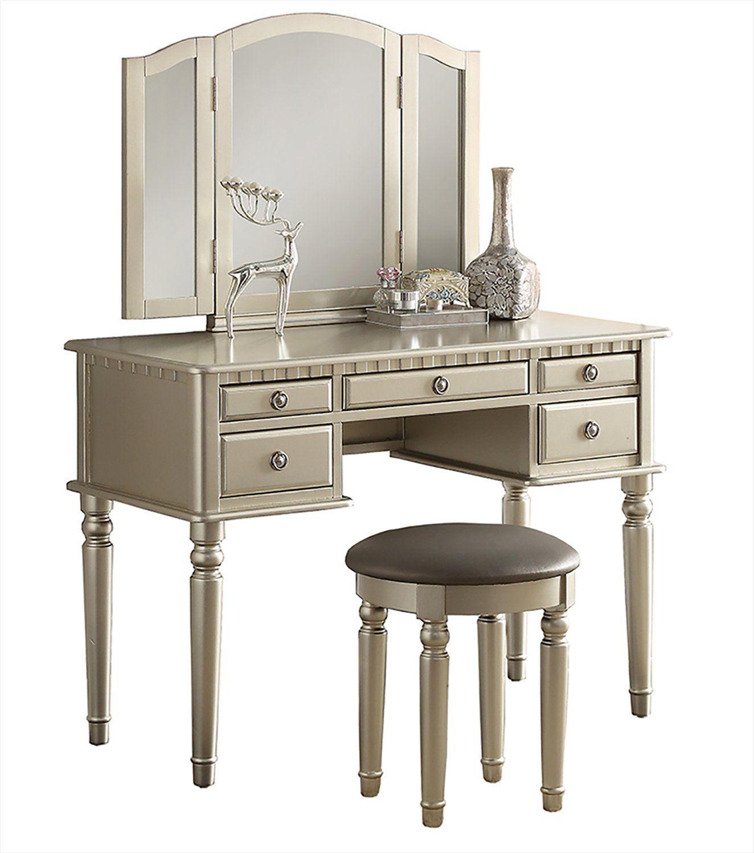Sensational Bobkona F4060 St Croix Collection Vanity Set With Stool Spiritservingveterans Wood Chair Design Ideas Spiritservingveteransorg