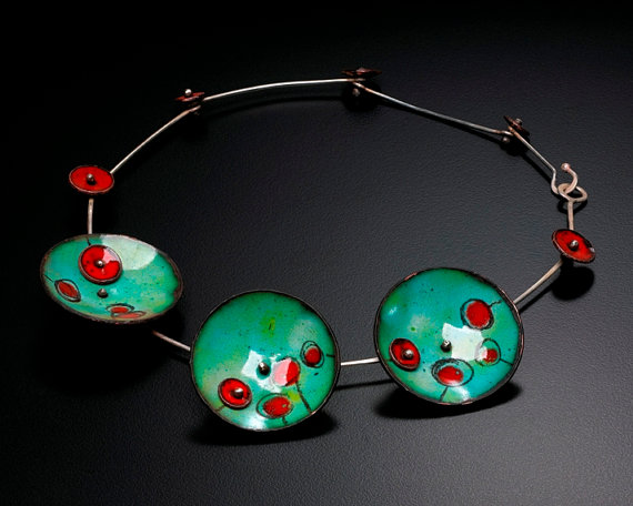 Green Enameled Disk Necklace With Red By