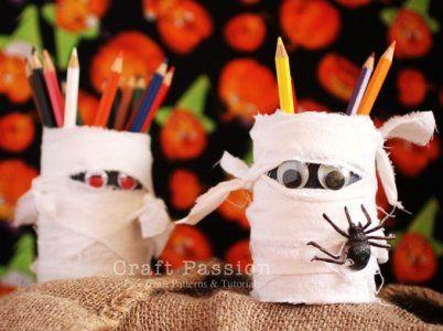 Mummy pencil holder Halloween Crafts Pinterest Crafts, Crafts - halloween crafts ideas