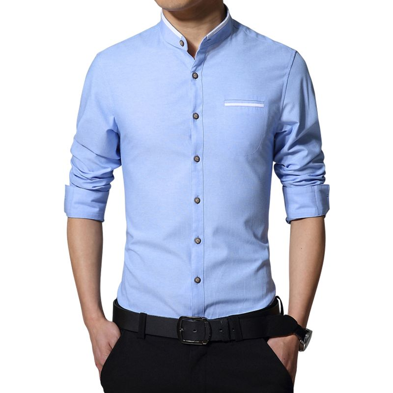 5b54d5744ab New Fashion Casual Men Shirt Long Sleeve Mandarin Collar Slim Fit Shirt Men  Korean Business Mens Dress Shirts Men Clothes M-5XL
