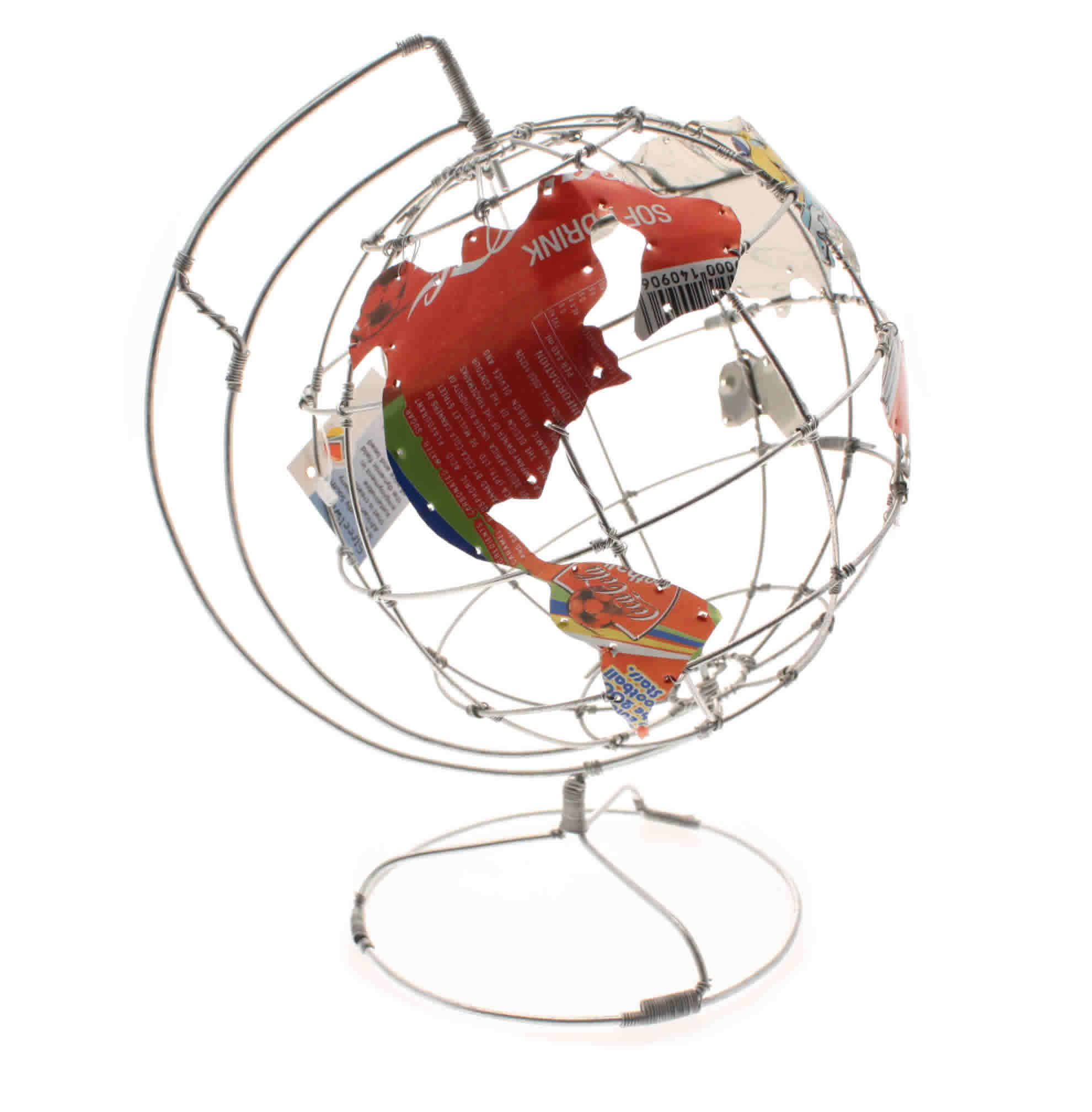 Wire World Globe Perfect For Your Office Desk. Continents Made From  Recycled Coca Cola Can