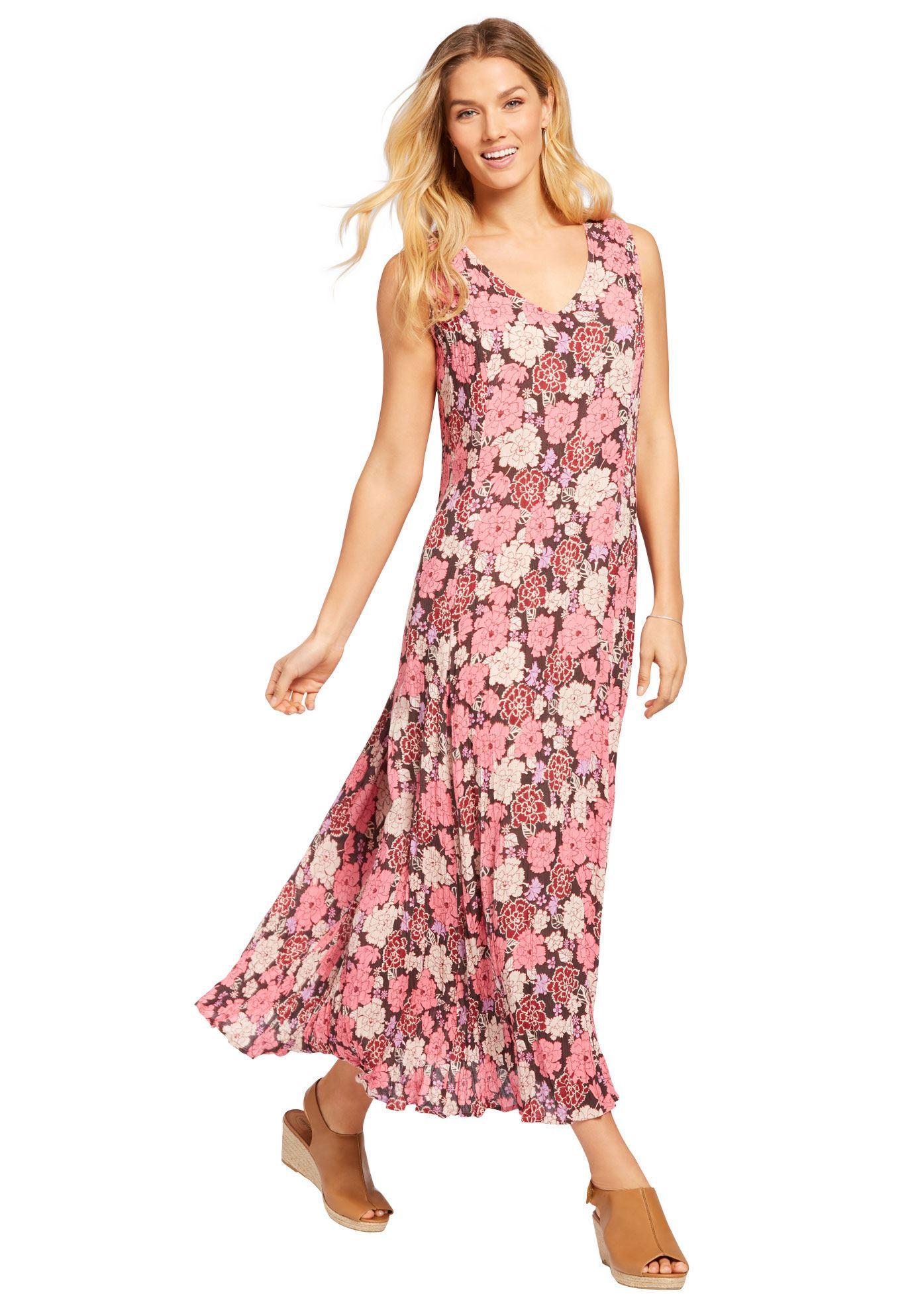Petite Sleeveless Crinkle Dress - Women\'s Plus Size Clothing