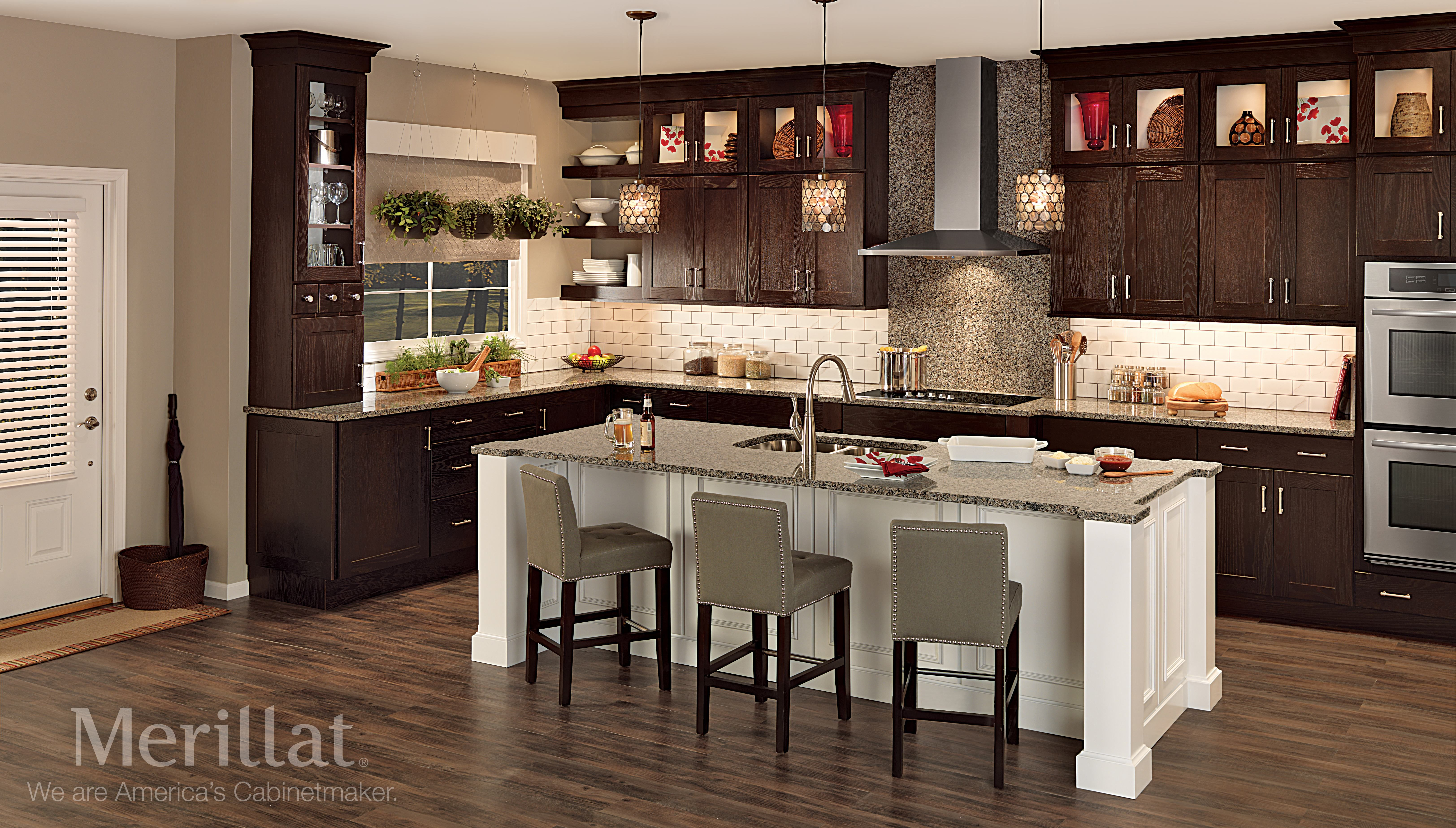 Merillat Classic Cannonsburg Maple Cotton With Tuscan Glaze Island And Tolani Oak Kona Walls Meri 1940s Kitchen Merillat Kitchen Cabinets Kitchen Design