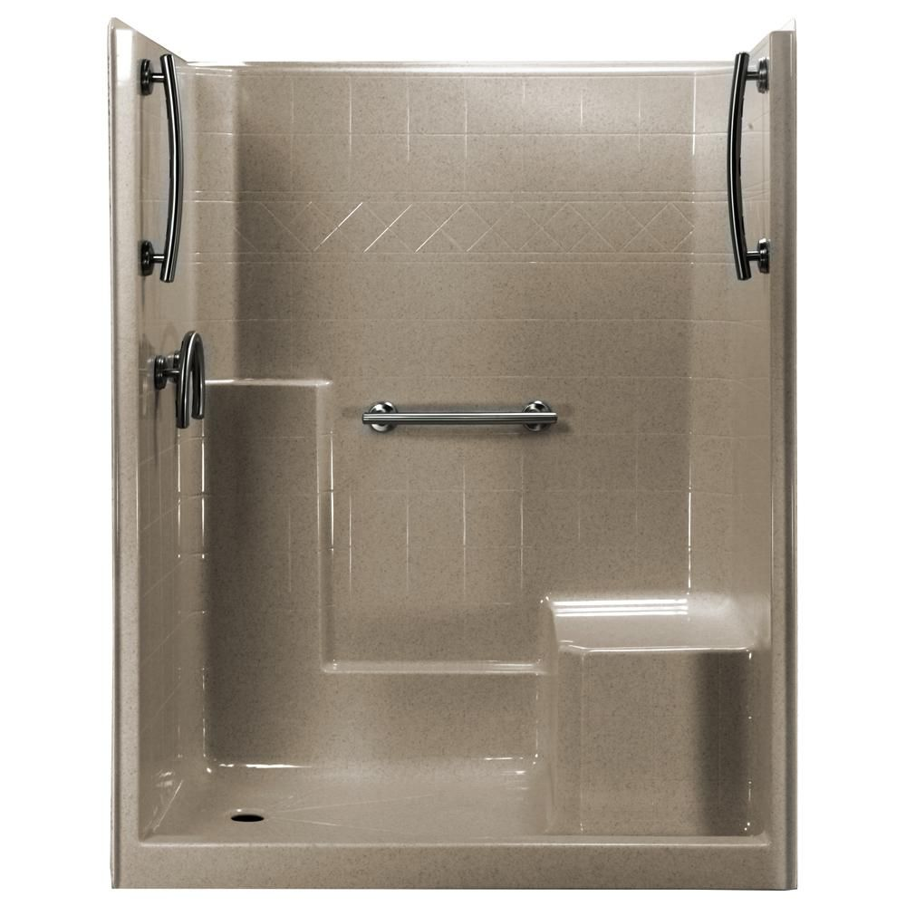 1 Piece Low Threshold Shower Stall In Cotton Seed Grab Bars R Seat Center Drain