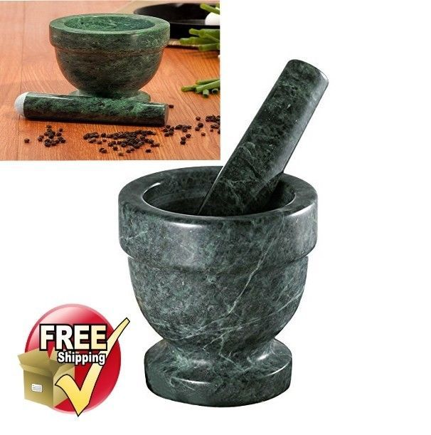 Mortar And Pestle Footed Marble Natural Stone Green Pestal