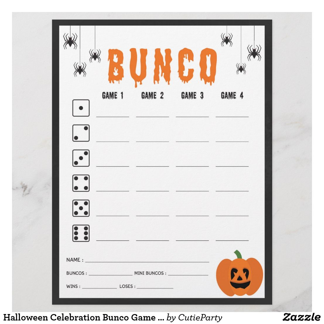 Halloween celebration bunco game score card