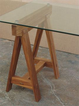 Glass Top On Kiaat Trestle
