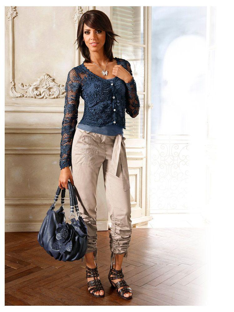 Shirtjacke Shirttop Cargohose Collier Tasche Sandalette — bei heine.de