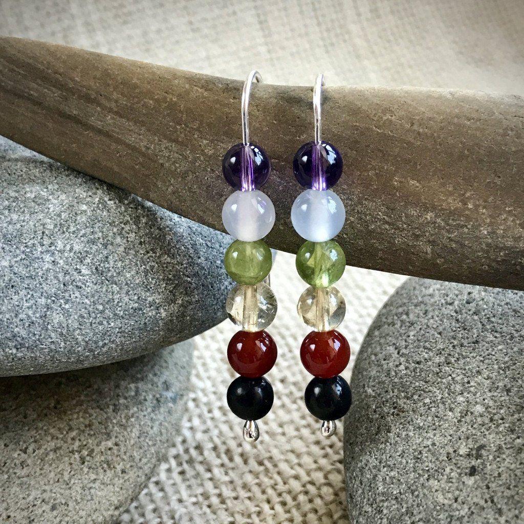 Chakra Earrings w/Shungite, on Argentium Silver, Threader