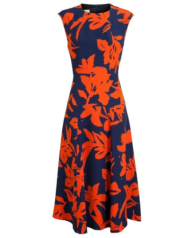Dries Van Noten 'Donovan' Pure Silk Dress - Pure silk navy 'Donovan' dress  with abstract orange floral print from Dries Van Noten. Round neck with  concealed ...