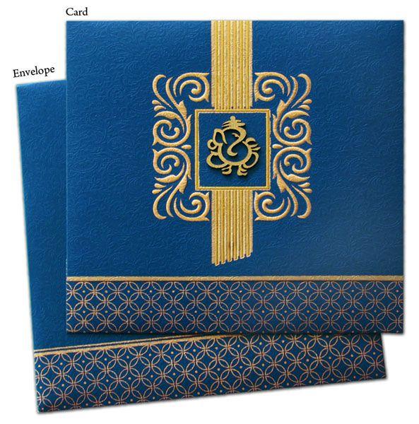 Blue and gold Lord Ganesh invitation Hindu wedding invitation cards Hindu wedding cards