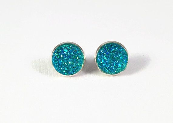 Druzy Studs in Sparkle Turquoise  Green