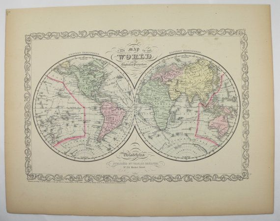 Old world map eastern hemisphere western hemisphere map 1858 old world map eastern hemisphere western hemisphere map original 1858 mitchell map antique map art gift world globe vintage map to frame by gumiabroncs Gallery