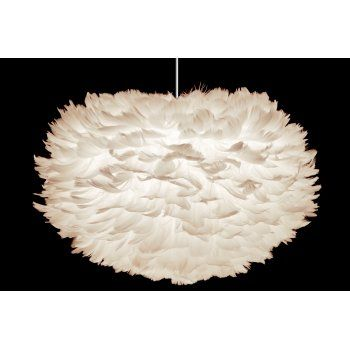 Vita Eos Large Ceiling Light Shade White Feathers Lamp Shade