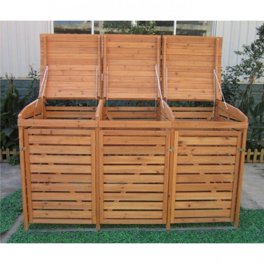 mülltonnenbox mit rückwand holz für 3 mülltonnen 240l müllcontainer