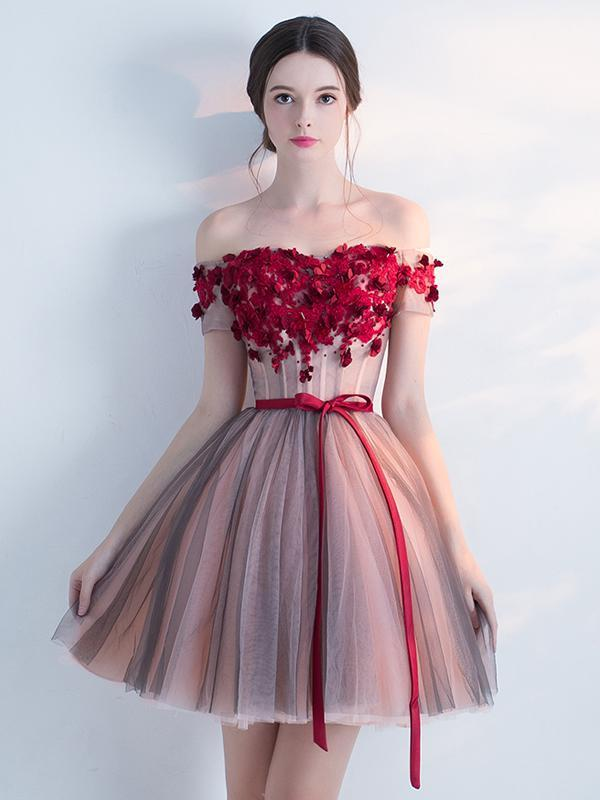 Off Shoulder Red Lace Cheap Short Homecoming Dresses Online Cm692