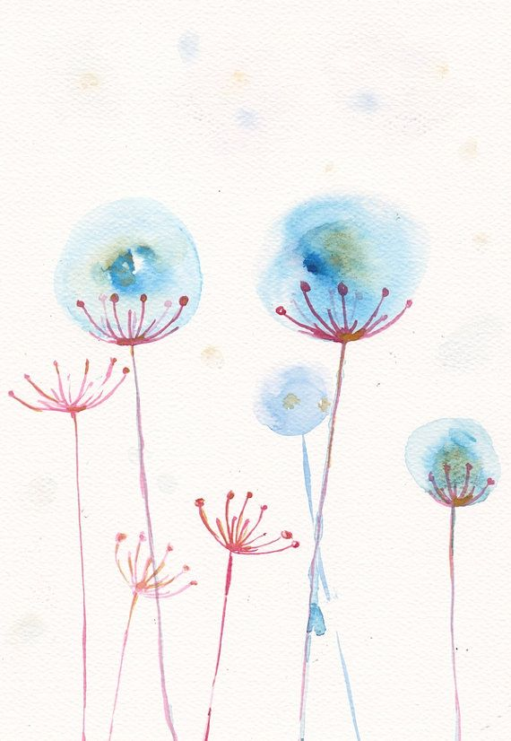 Photo of Items similar to turquoise fuchsia winter flower art print watercolor my original illustration flower painting dandelion 8×11 floral abstract home decor on Etsy