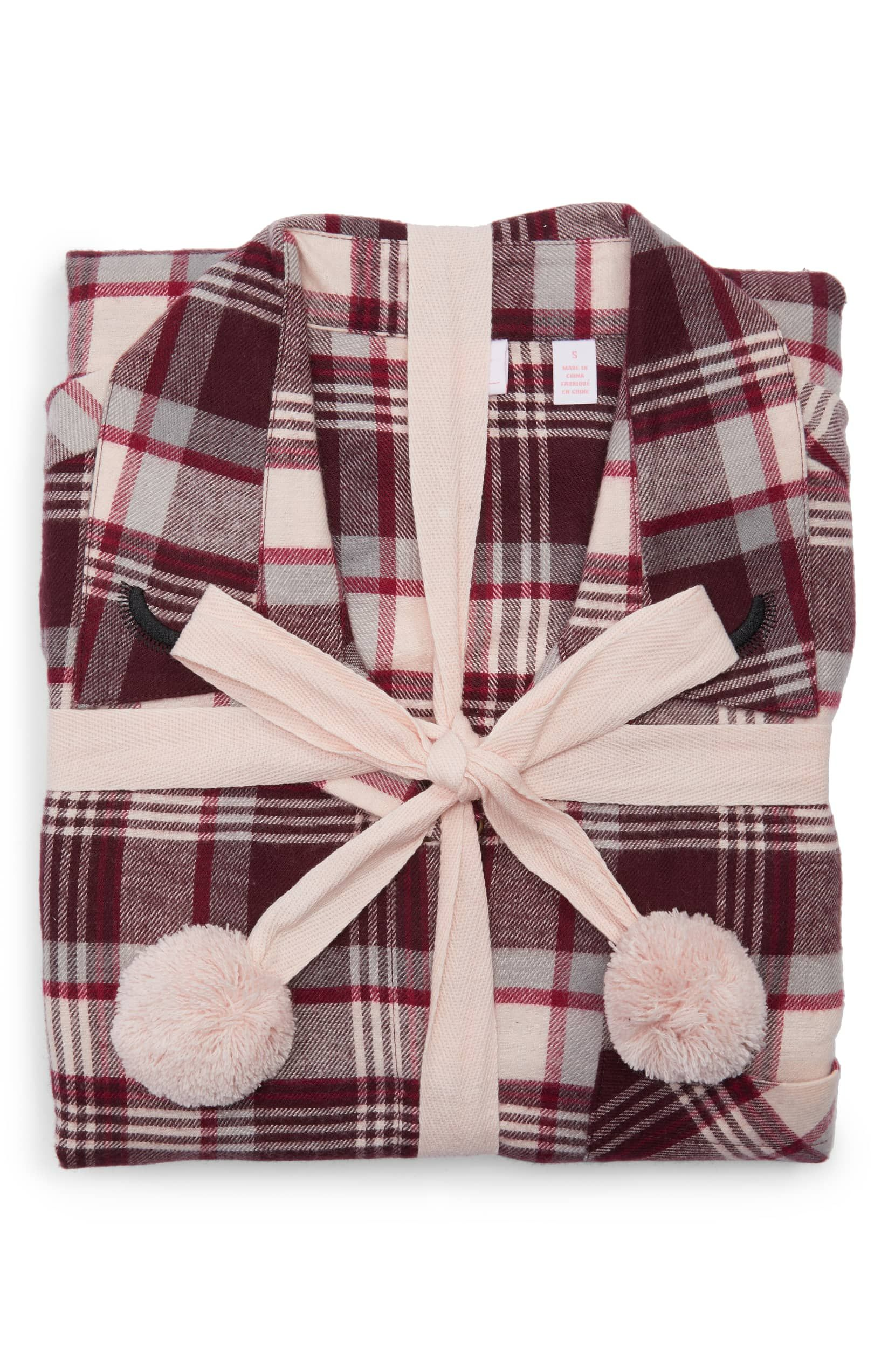 AUDREY Make + Model Flannel Girlfriend Pajamas - Burgundy Berry Lou Plaid dfbb1273e