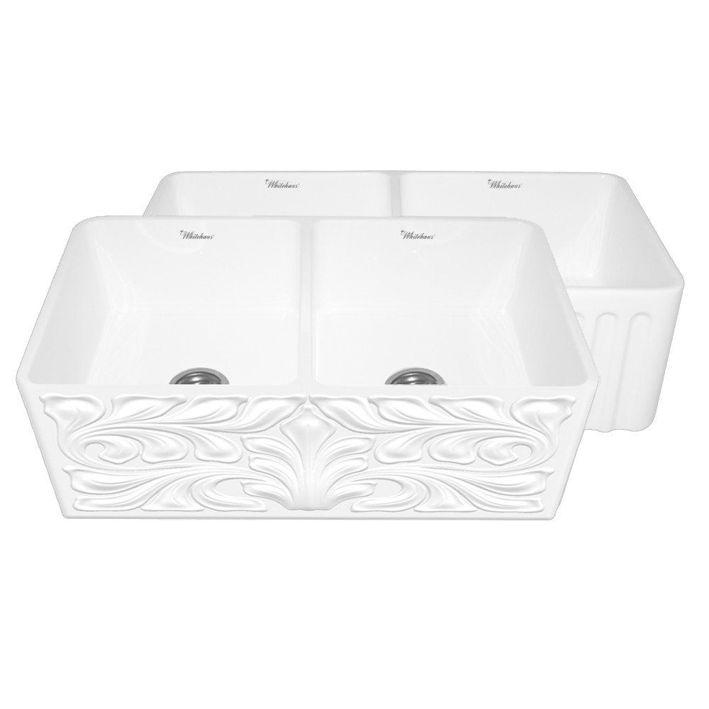 Whitehaus 33 Fireclay Kitchen Sink With A Gothic Swirl Design White Whflgo3318 Whitehaus Gothichaus Reversible Series Firecl Double Bowl Sink Sink Bowl Sink