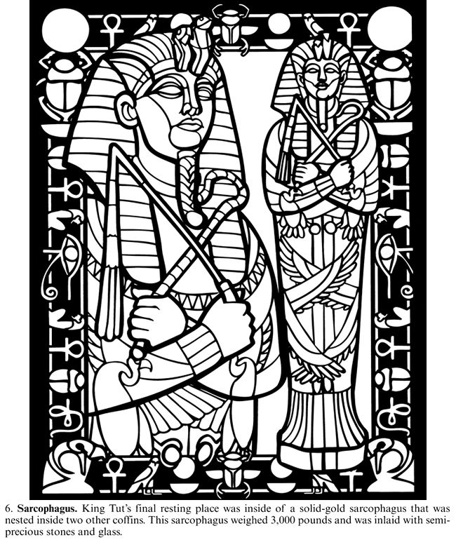 king tut coloring pages - treasures of king tut s tomb stained glass coloring book
