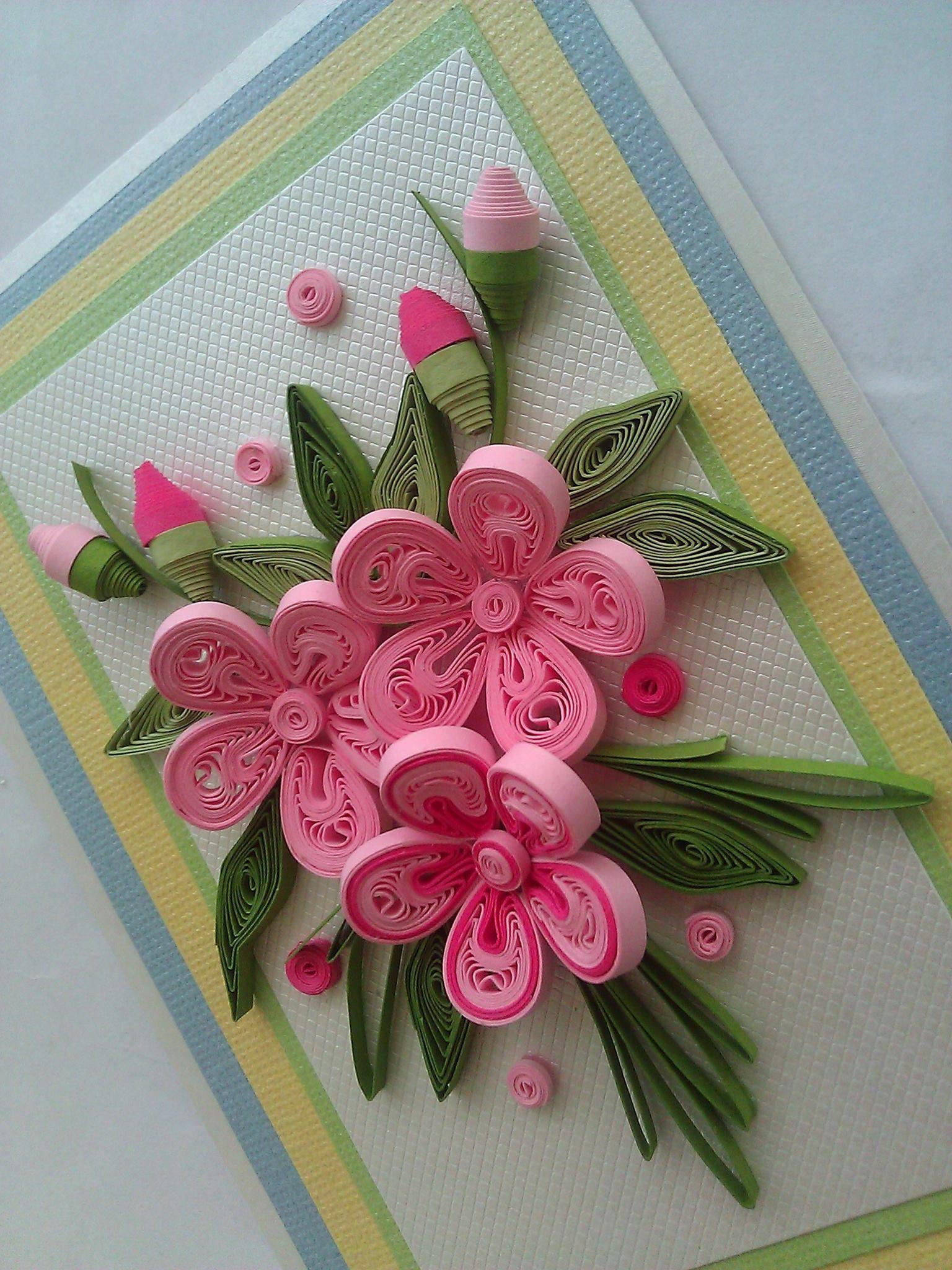 цветы в технике квиллинг для открытки своими руками каменских