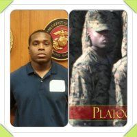 What a difference!  USMC made a man out of a boy!  Our son at Houston MEPS, and after boot.