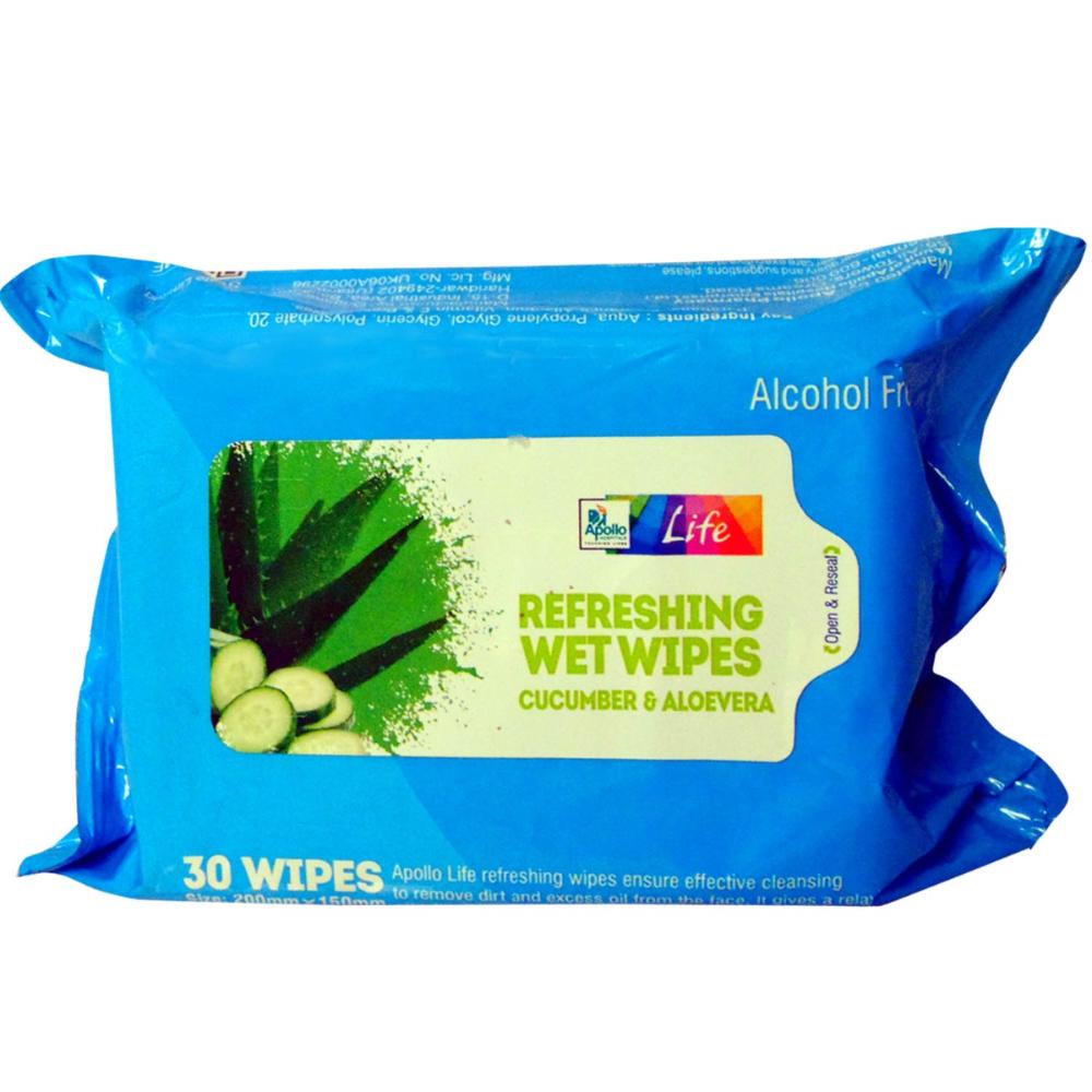 Apollo Life Cucumber Aloe Vera Refreshing Wet Wipes 30 S In 2020 Wet Wipe Wipes Aloe