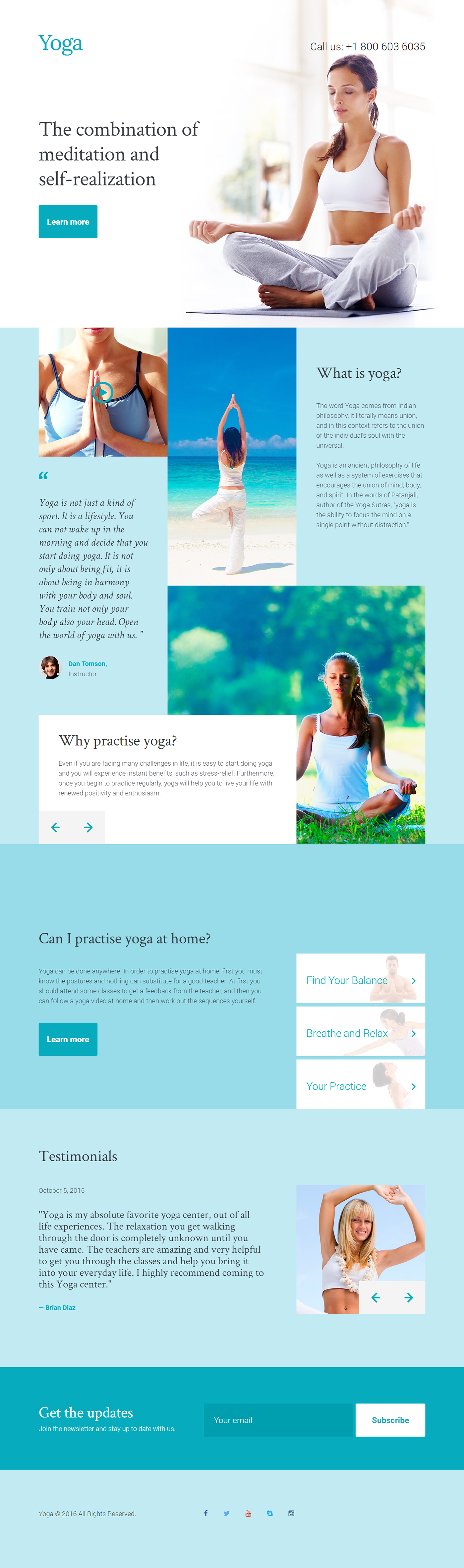 Yoga Club Landing Page Template on Behance | Landing Page Templates ...