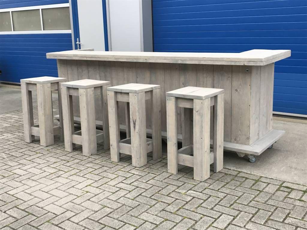 Bar / Balie / Toonbank van steigerhout met een waterproof LED ...