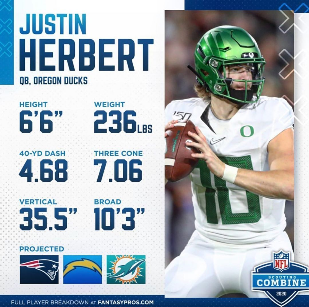 Justin Herbert On Instagram Full Combine Numbers For Justin Herbert Next Up For The Pathtothedraft Is Herber In 2020 A Days March Nfl Scouting Combine Oregon Ducks