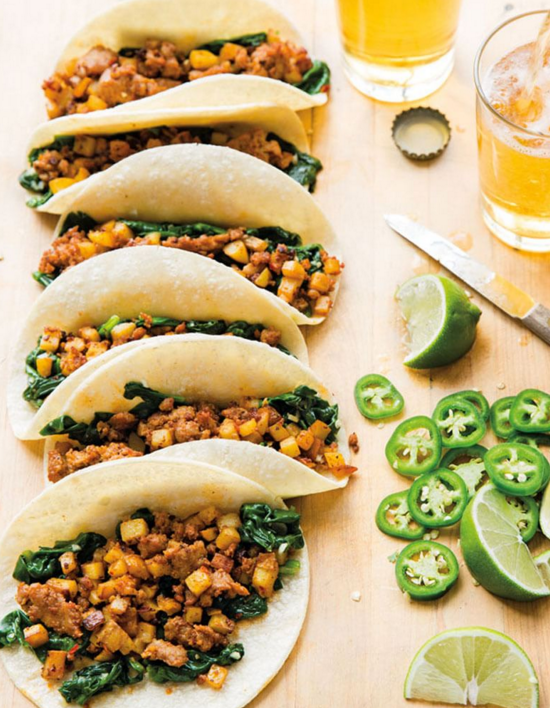 chorizo, potato, and spinach tacos