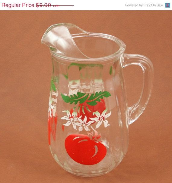 ON SALE Glass Pitcher Tomato Juice  Bloody Mary Bar Vtg