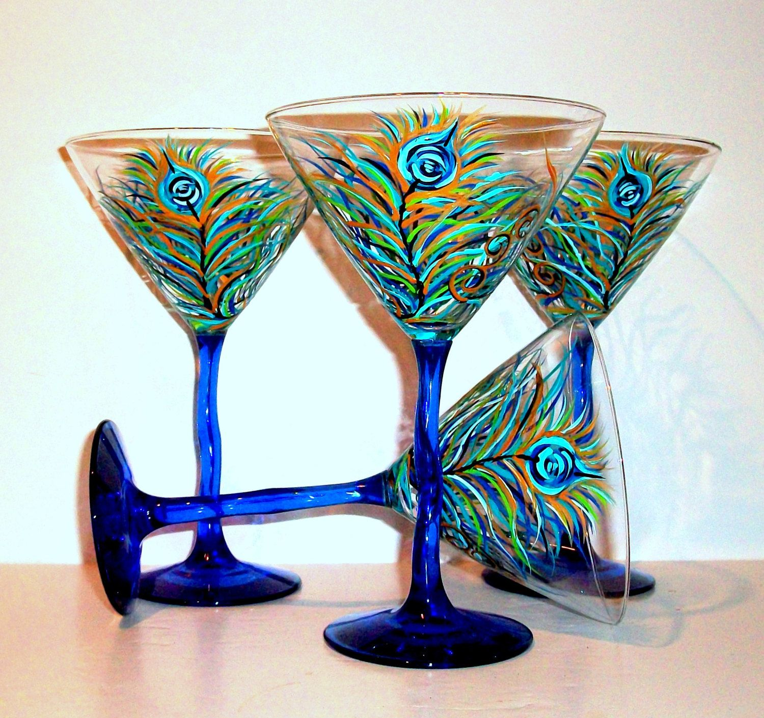Pea Feathers Martini Gles Cobalt Blue Stem Wedding Anniversary Birthday Gift Set Of 4 12 Oz Hand Painted Glware By