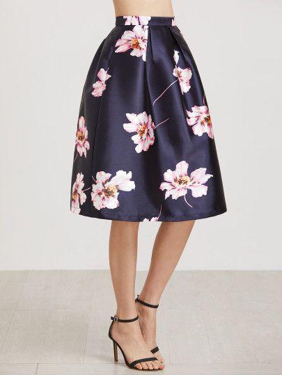 Falda con estampado floral y cremallera-Sheinside | Faldas ...