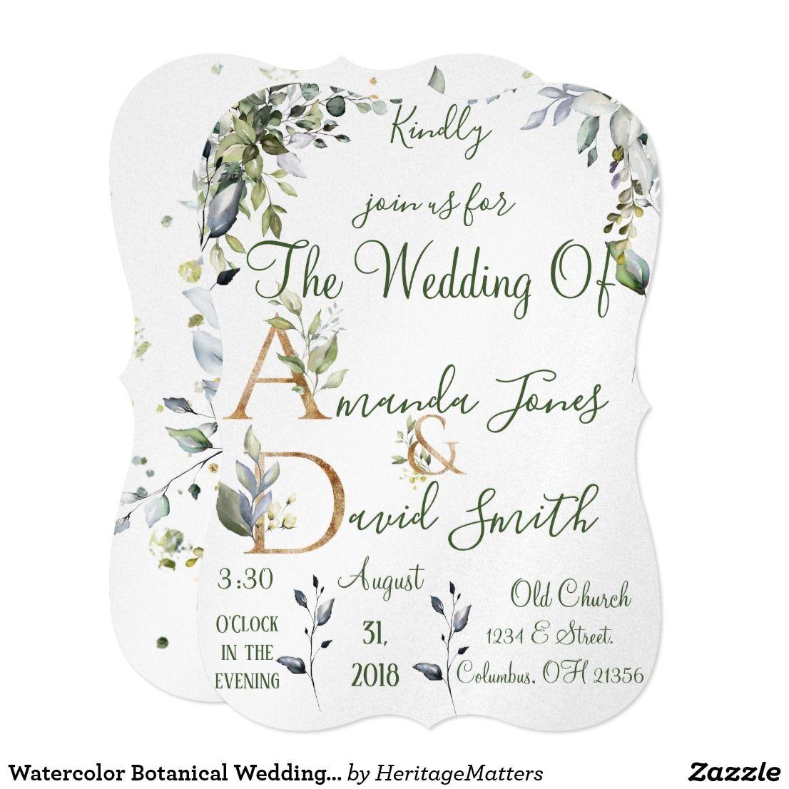 Watercolor Botanical Wedding Invitation