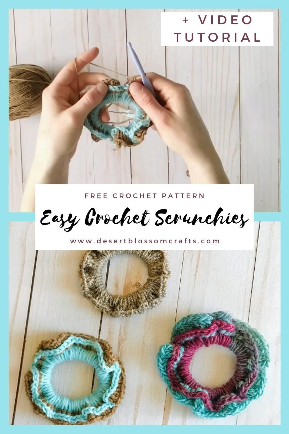 Two-Toned Crocheted Scrunchies—Free Pattern