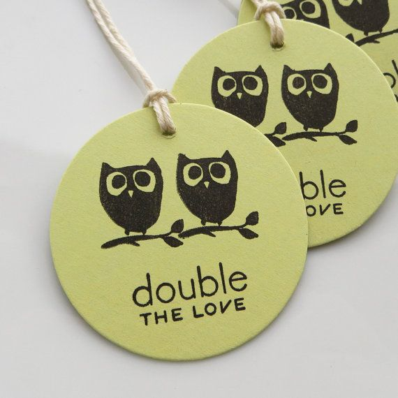 Great Twin Baby Shower Tags Owls Double The Love   Set Of 6   Baby Shower Favor