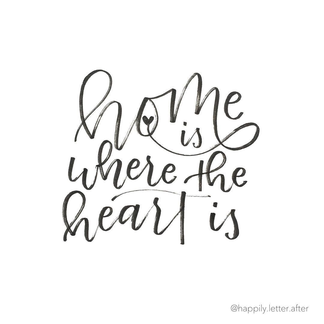 Welcome Back Home My Love Quotes: Lettering Design: Home Is Where The Heart Is // Happily