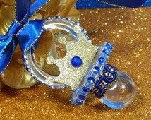 12 Prince Baby Shower Pacifier Favor Necklaces/ Boys ROYAL BLUE U0026 GOLD Baby  Shower Favors