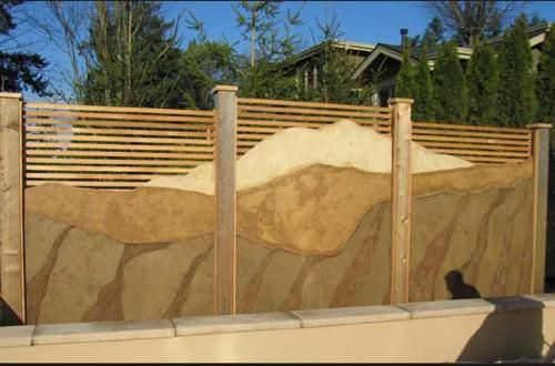 privacy fencing concrete walls with realistic stone texture and - Wall Fencing Designs