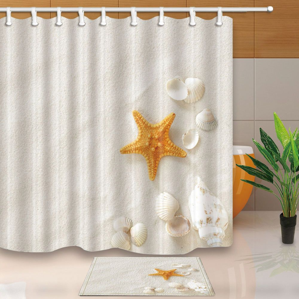 Details About Shell And Starfish On White Beach Bathroom Shower Curtain Set Fabric Hooks 71 Shower Curtain Beach Bathrooms Bathroom Shower Curtain Sets