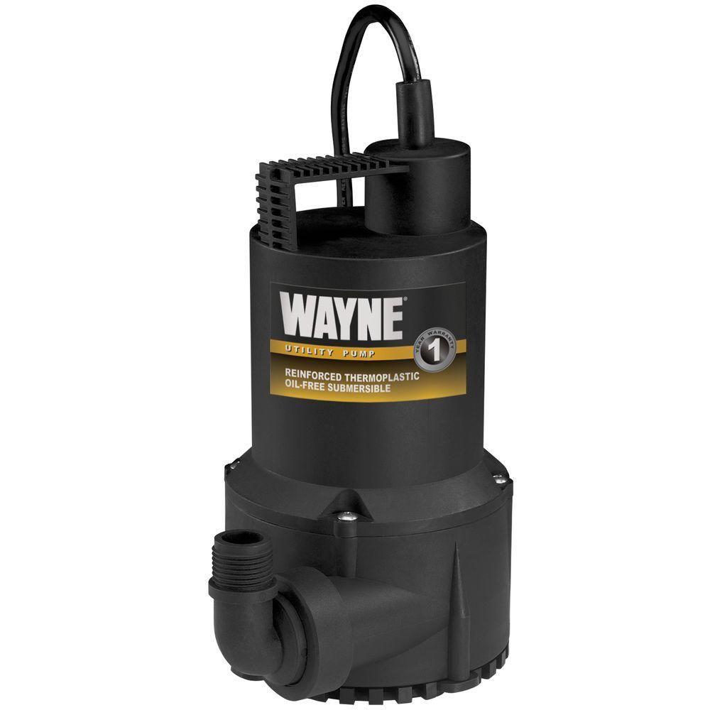 Wayne 1 6 Hp Thermoplastic Utility Pump Submersible Utility Pump Utility Water Pumps