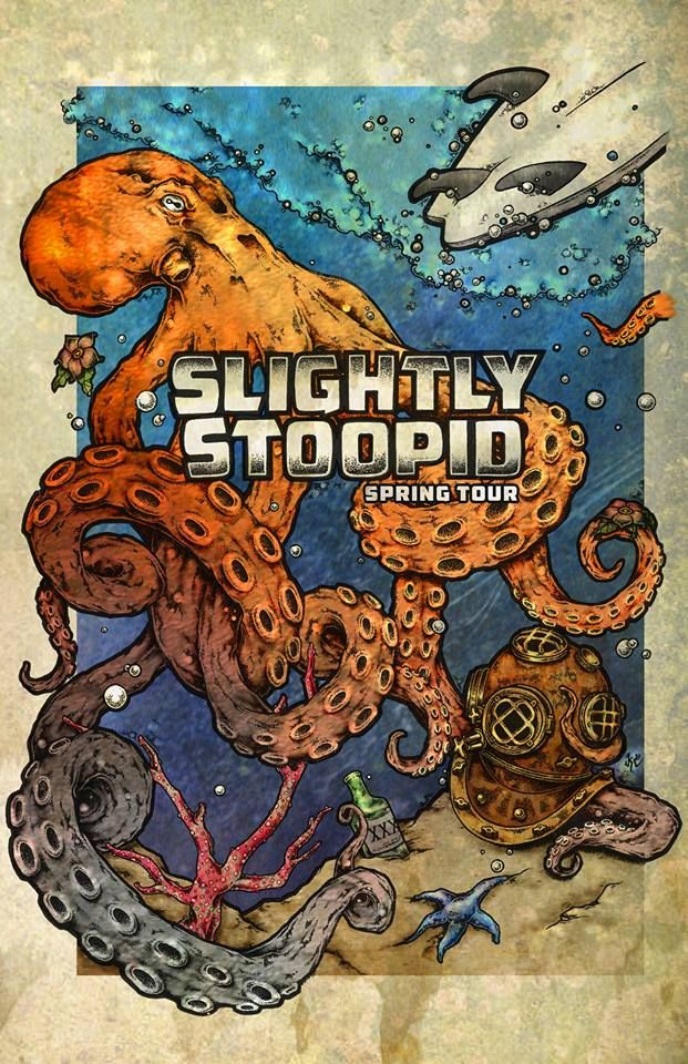 Slightly Stoopid Spring Tour Poster Design By Kc Cowan Band Posters Music Concert Posters Surfboard Art