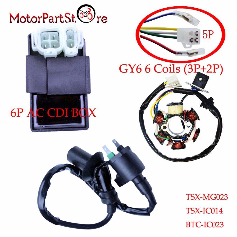 6 Poles Magneto Stator Coil 6 Pin AC CDI Box Ignition Coil