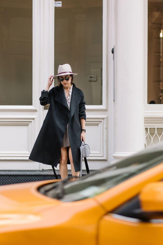 Kuho Coat, Everlane Shirt, Aritzia Skirt, Janessa Leone Hat