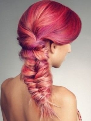 Beautiful Hair in Pinks and Purple done in a fishtail braid.